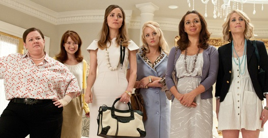 Courtesy of bridesmaidsmovie.com. McCarthy, Kemper, Byrne, McLendon-Covey, Rudolph, and Wiig shop for bridesmaids dresses in an expensive, couture bridal shop before things take a turn for the scandalous.
