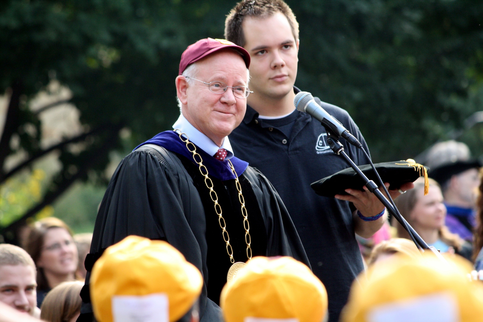 Photo by Rachel Torgerson. President William Craft prepares to toss his beanie with the rest of the first-year and transfer students on Sept. 2.