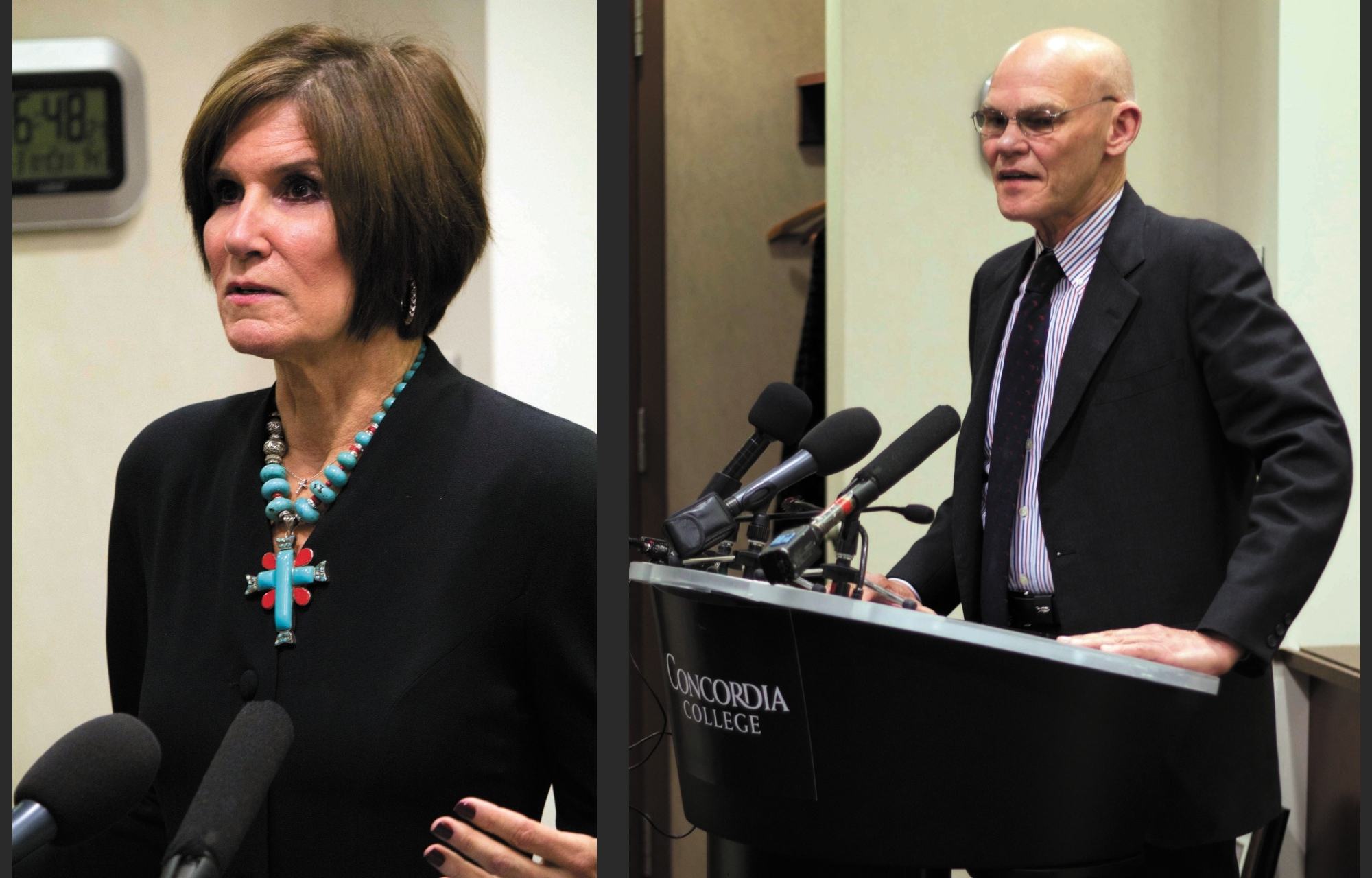 Photos by Evan Balko. Politically polarized couple Mary Matalin and James Carville debate current events in front of a full house on Oct. 31. The pair pride themselves in disagreeing about politics yet maintaining a healthy marriage.
