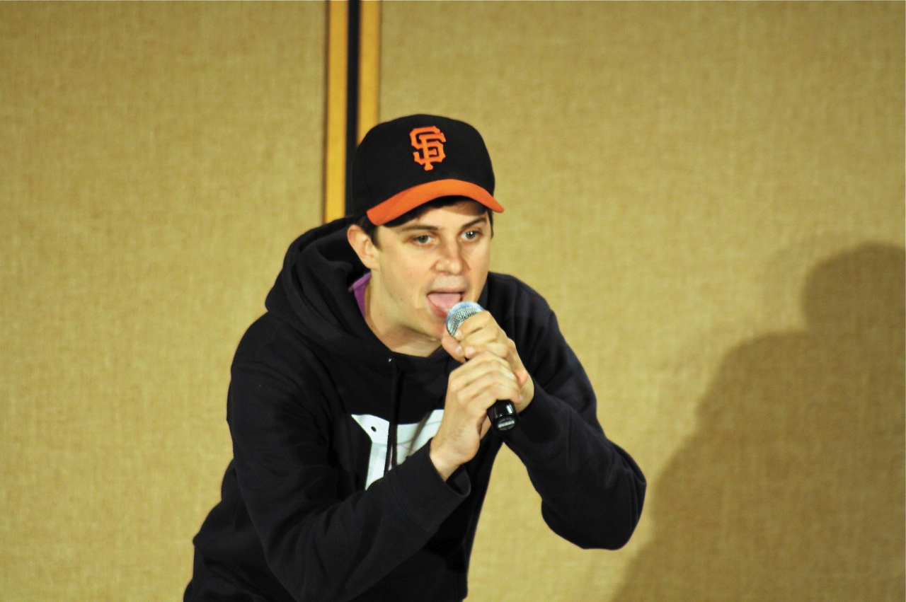 Photo by Katharine Spencer. George Watsky returned to campus Nov. 11 to perform his spoken word routine in the Centrum.