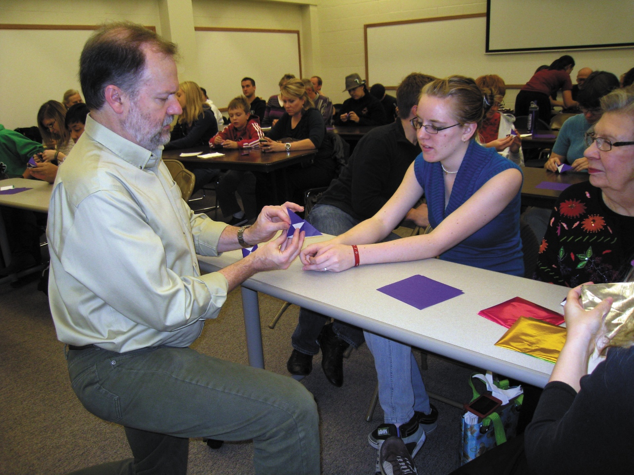 Photo by Lexi Robinson. Dr. Robert Lang demonstrated the art of origami to celebrate the 100th anniversary of the Mathematics department at Concordia Oct. 19.