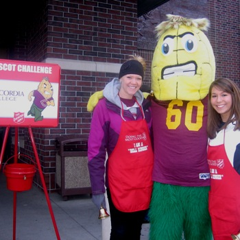 Photo from GoCobbers.com. Kernal Cobb along with charitable Cobbers volunteer in the 4th annual Salvation Army Mascot Challenge.