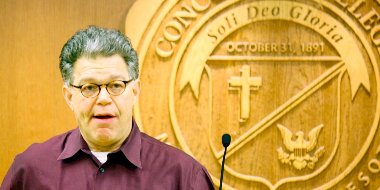 Photo by Rachel Torgerson. Senator Al Franken shares his opinions on college education and student debt in a metting with Campus Democrats Jan. 10. Franken is researching what changes can be made to lower the cost of education in the United States.