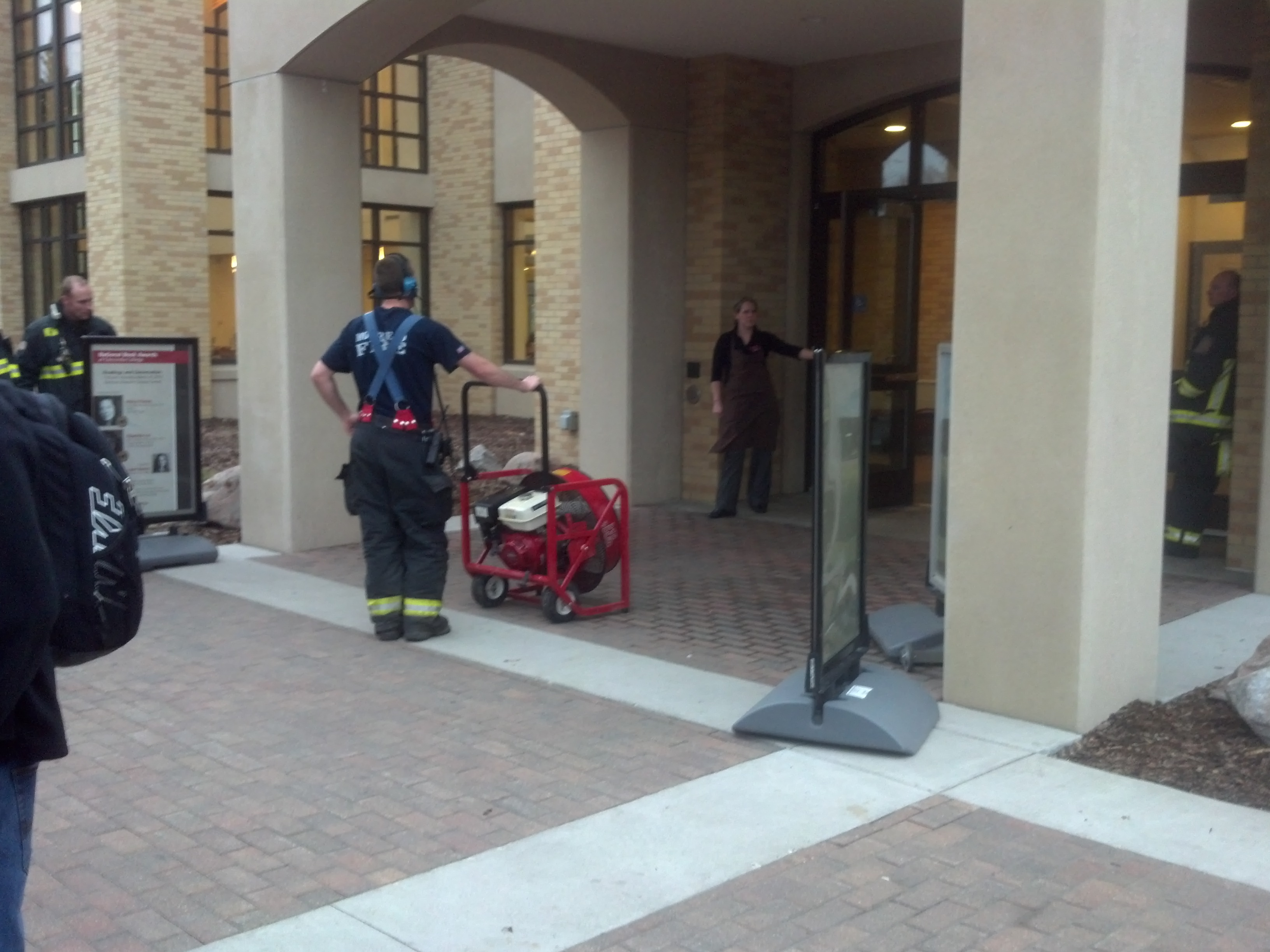 Photo by Ryan Bloom. The Moorhead Fire Department is seen airing out Anderson Commons after the fire alarm.