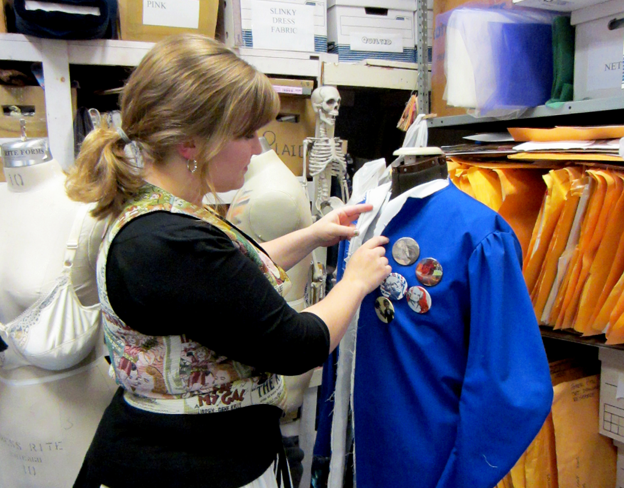 "Photo by Jordan Elton. Kersti Pearson works on designing the costumes for Concordia Theater's production ""44 Plays for 44 Presidents""."