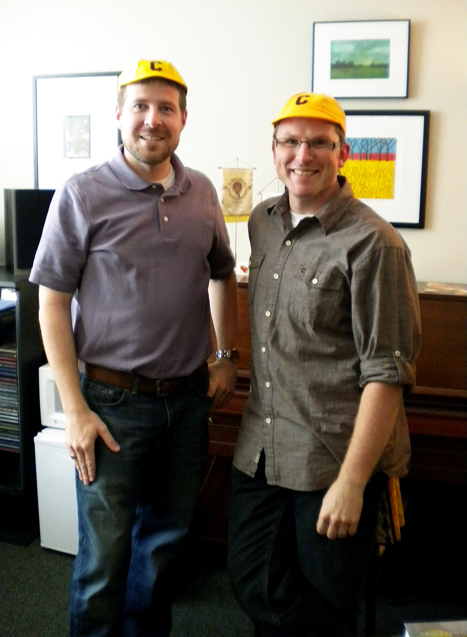 Photo by Jamie Telander. Peter Haberman and Michael Culloton pose in their old cobber beanies.