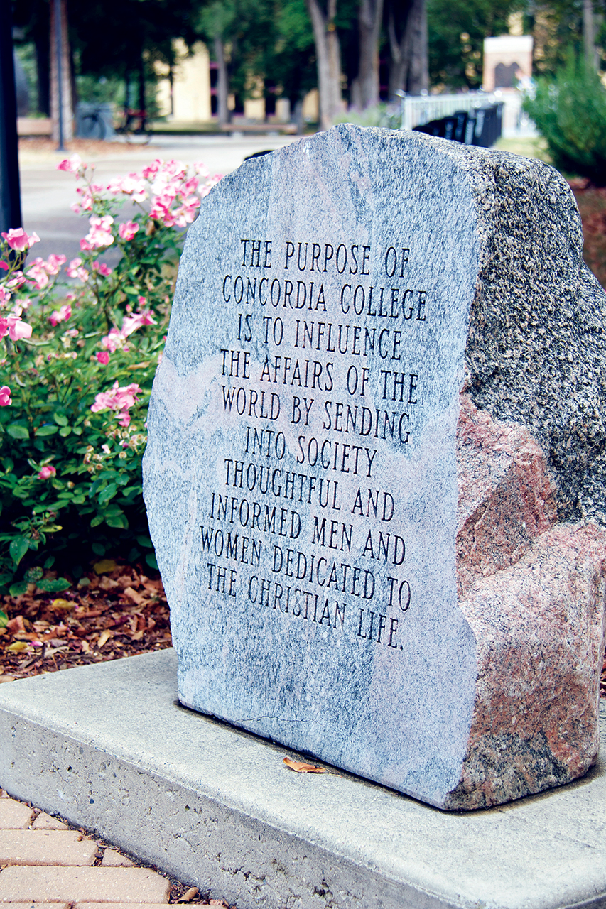 Photo by Olivia Gear. The Concordia College mission statement.