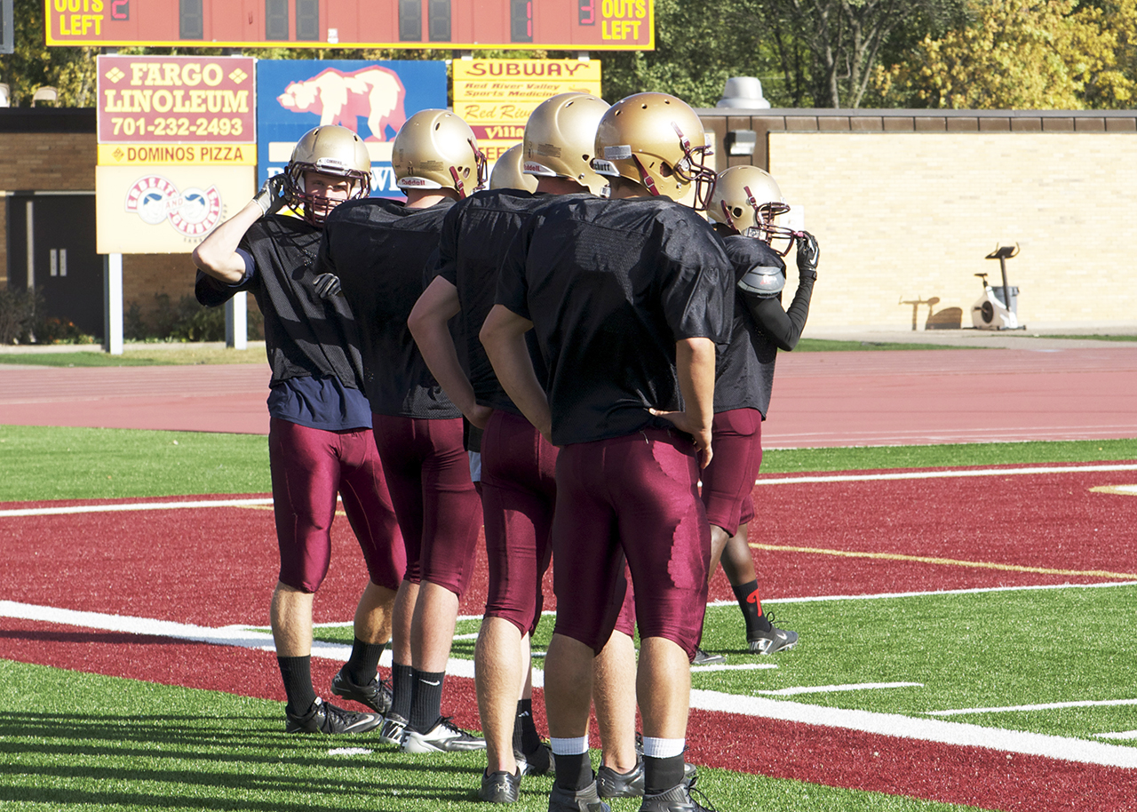 Photo by Jamie Telander. The Concordia football team sports top-of-the-line helmets to ensure safety in practice and at games.