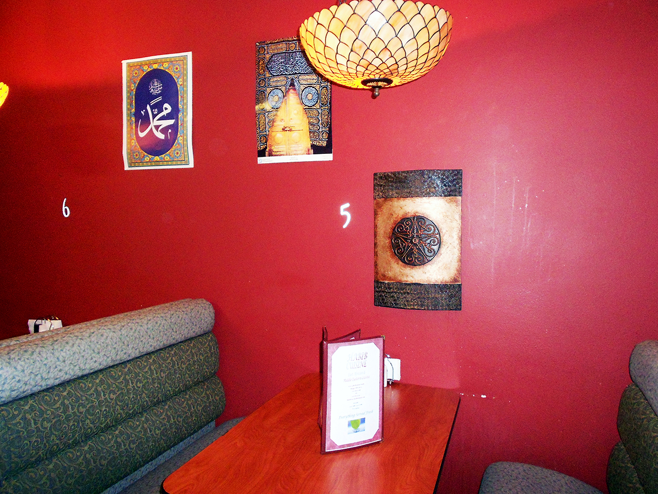 Photo by Lana Gyamera. A booth at the Habib Cuisine in Fargo.