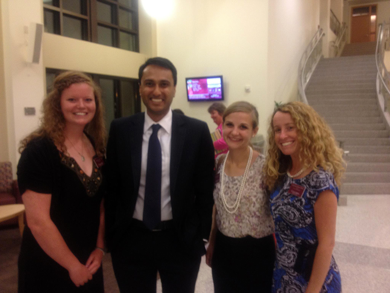 Photo submitted by Anastasia Young. Interfaith scholars pose with Dr. Bath and Eboo Patel.