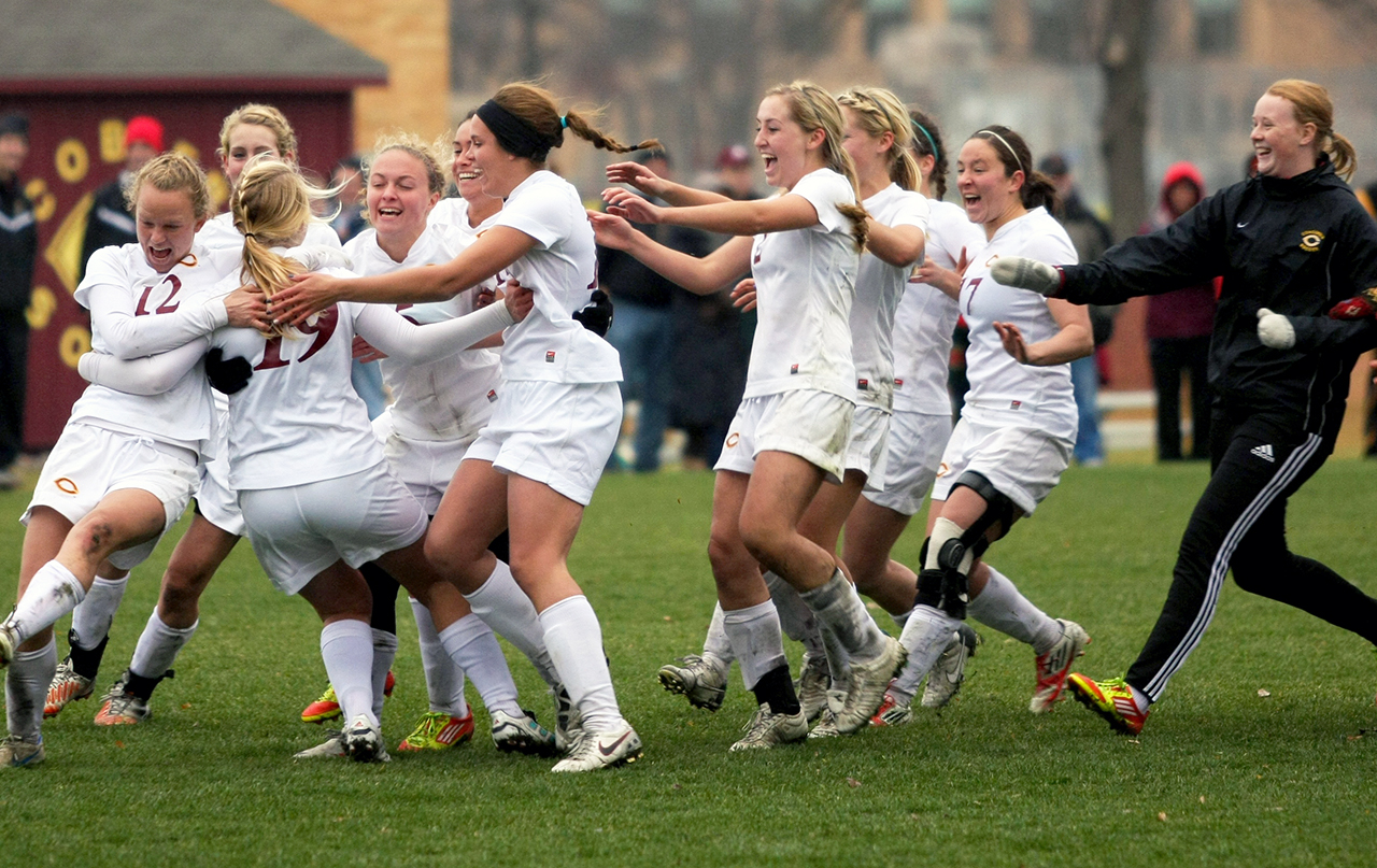 Submitted photo. Concordia's women's soccer team celebrates after a win at the NCAA Tournament. The Cobbers made it through the first two rounds of competition, but were stopped in the round of 16, falling to Washington University 2-1.