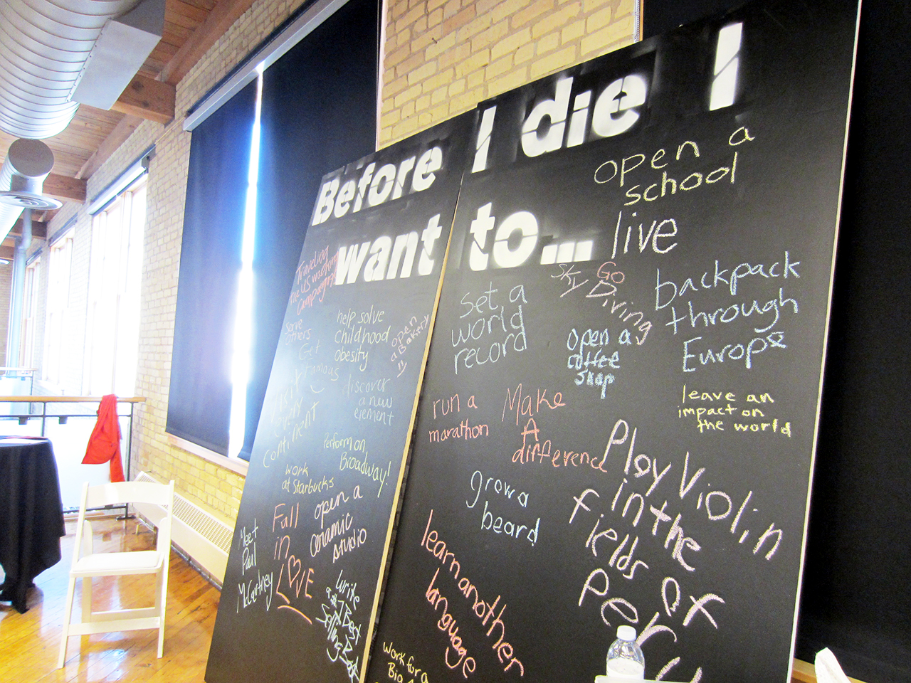 Photo by Jordan Elton. A group of Concordia students helped plan the TEDx Youth event which took place on Nov. 18. The chalkboard above encouraged participants to think about the ways they want to live their life.