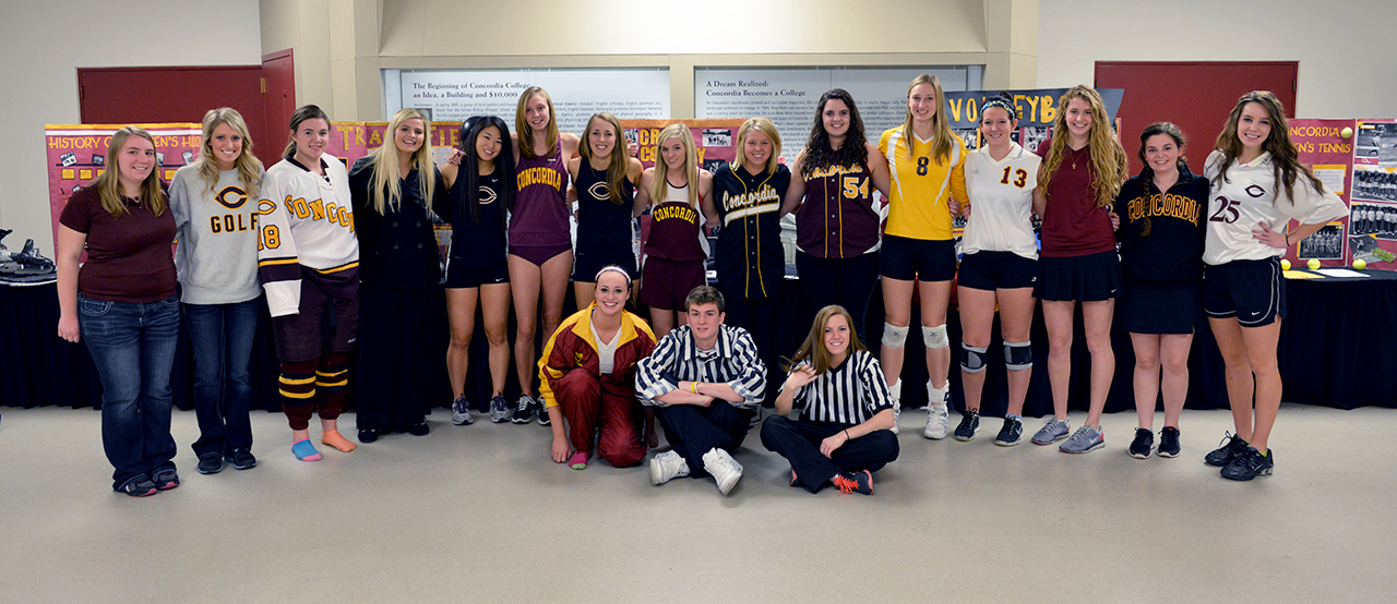 Photo submitted by Sheldon Green. Students model old and new sports uniforms at the athletic department's celebration of the 40th anniversary of Title IX, the educational amendment that allowed women to participate equally in school sports. The event featured a video of Cobber women's athletics from years gone by and a panel of women's coaches and athletes past and present.