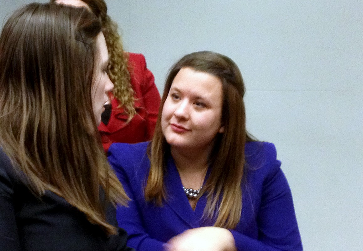 Submitted photo. Britt Aasmundstad, president of Concordia's speech team, interacts with teammate Christina Hennings at a tournament in Lincoln, Neb. Aasmundstad has qualified in two events this month for the national tournament.