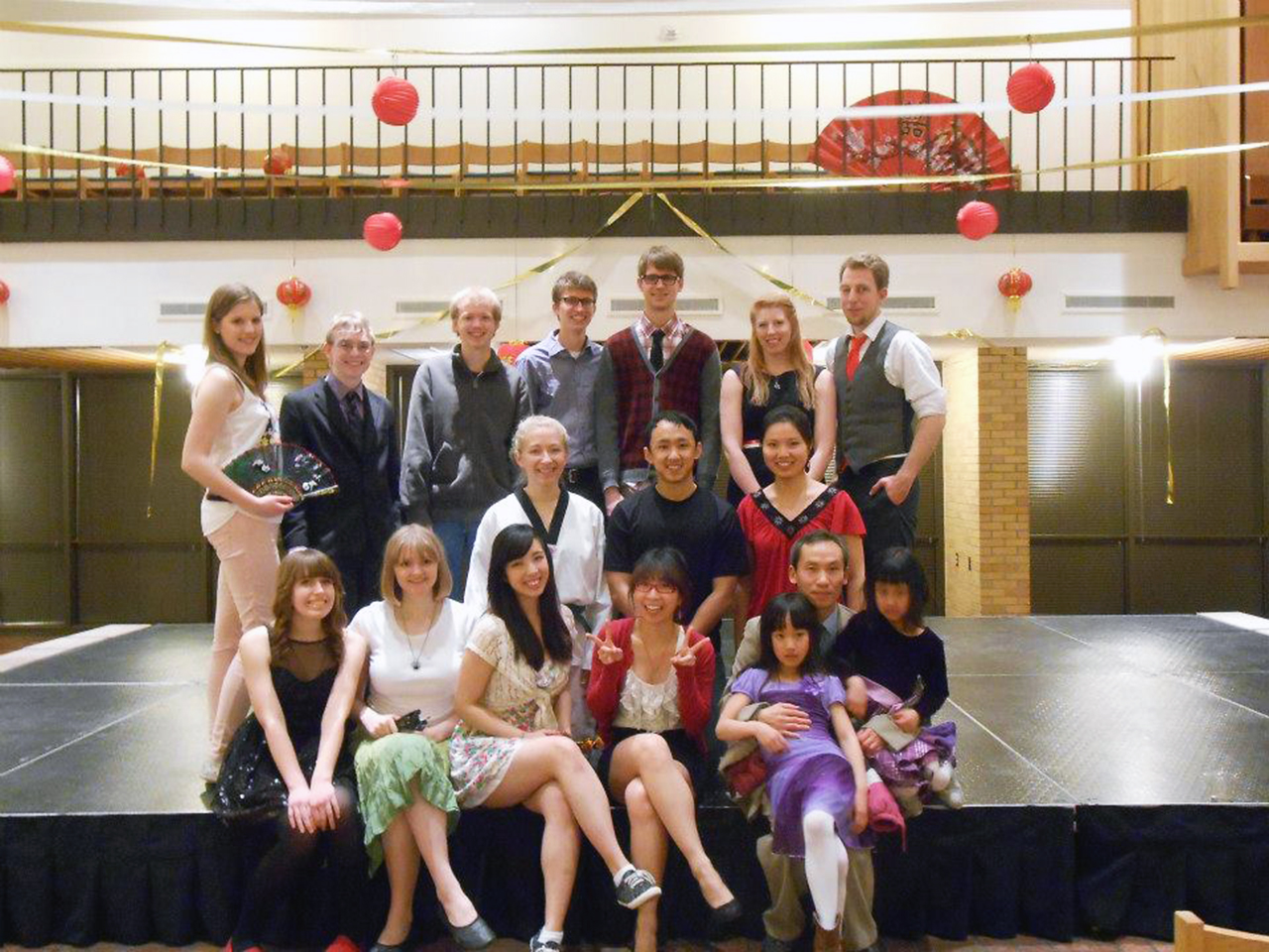 Submitted photo. The Chinese Club poses in the Centrum. Back: Sandra Schmidt, Matthew Burian, Matt Dale, Andrew Carlson, Will Merickel, Nicole Hunsicker, and John Georke. Middle: Erin Bjerke, Xao Vang, Joy Donovan. Front: Elise Woodwick, Briana Johnson, Andrea Akatsuka, Sarah Zhang, Iris Ming, Dr. Tao Ming, and Vivian Ming