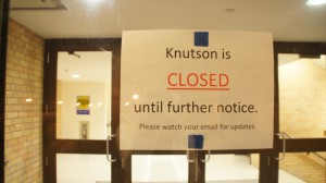 Water pipes burst in Knutson tonight around 8:10 p.m. on Friday, triggering alarms in Bishop Whipple and the Knutson Campus Center.