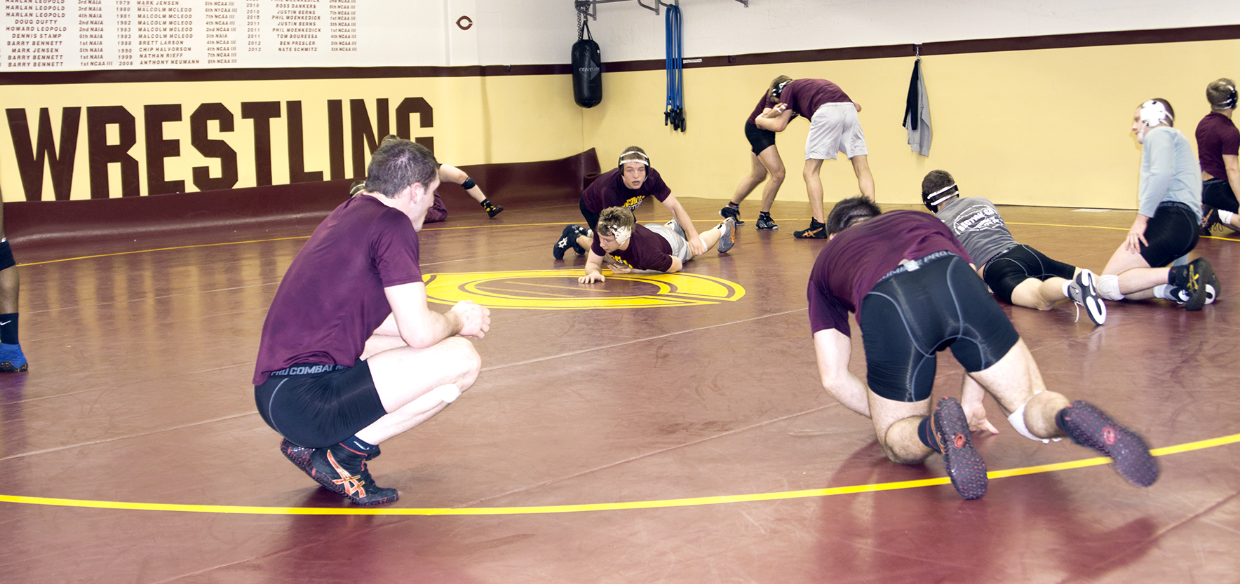 Photo by Ali Everts. The current wrestling facility (pictured) is only big enough to house one full-size wrestling mat. Therefore, the wrestlers have to practice all together in the one room, leading to over-crowding and wrestlers bumping into one another as they spar.
