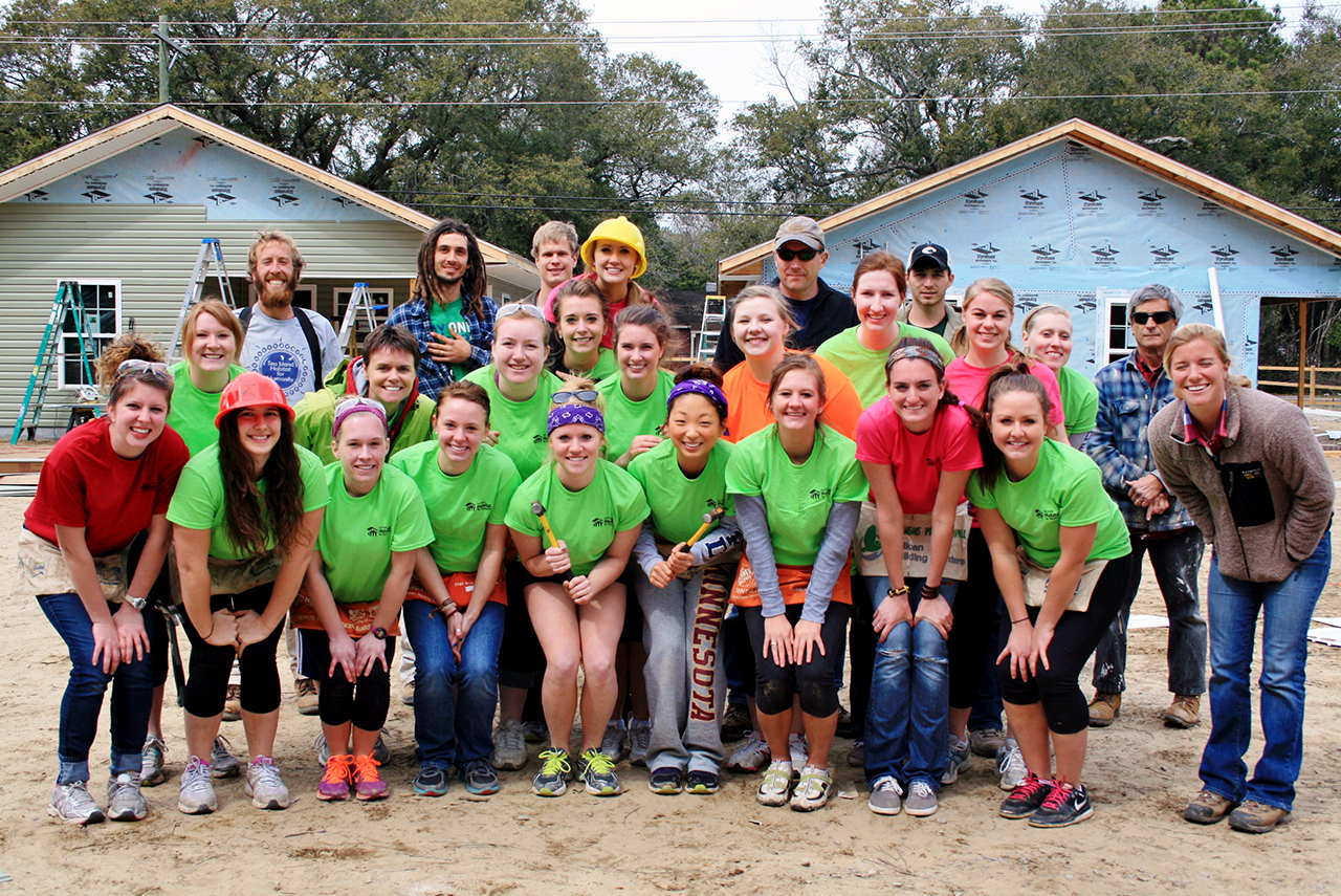 Submitted by Lindsay Jacobs. Over mid-semester break, 138 Cobbers on seven buses traveled across the United States to help others in need for Habitat for Humanity projects. Above: A photo taken on the Charleston, S.C., group's last day on site at Sea Island Habitat.