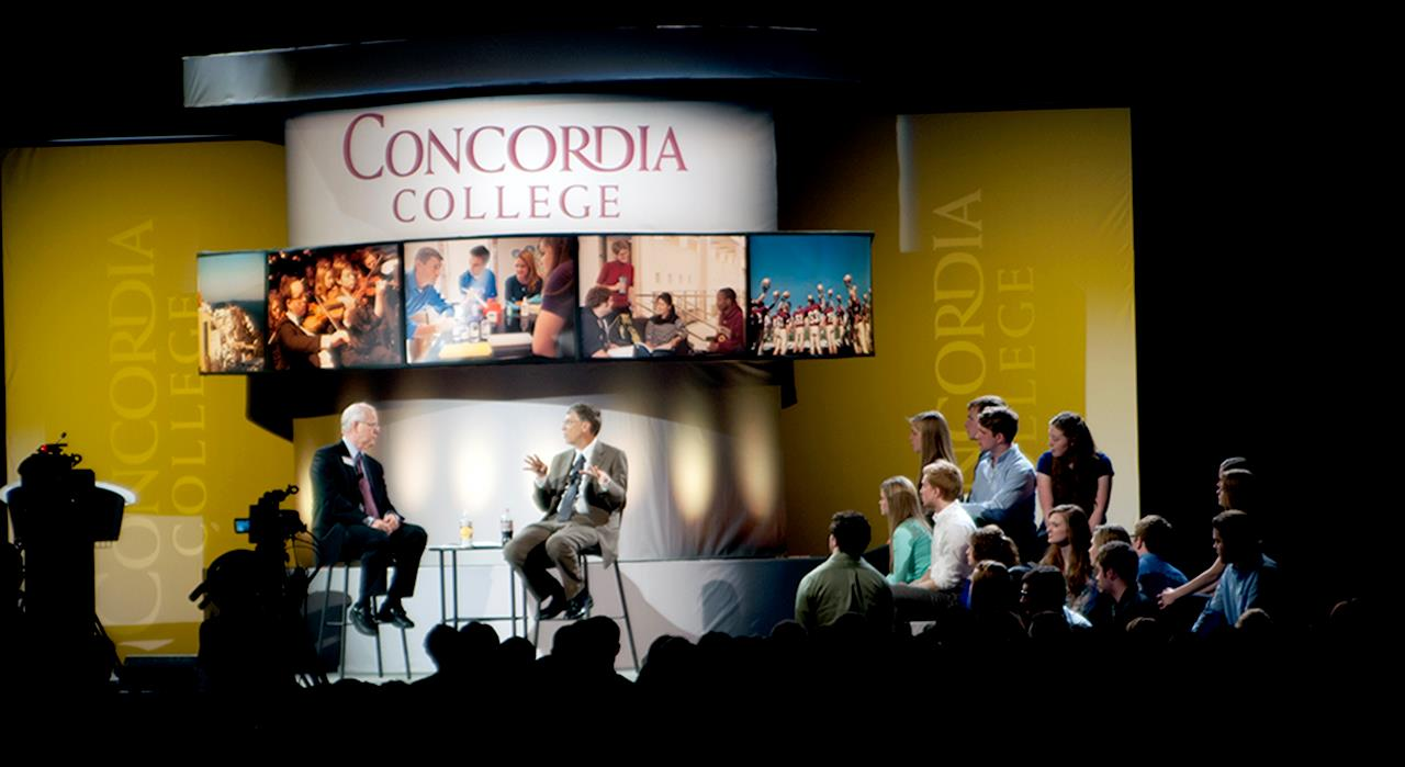 Concordia held the dedication for the Offutt School of Business on October 27, 2013 in front of a crowd of 3,800 people who were there to see Microsoft Co-Founder Bill Gates speak.