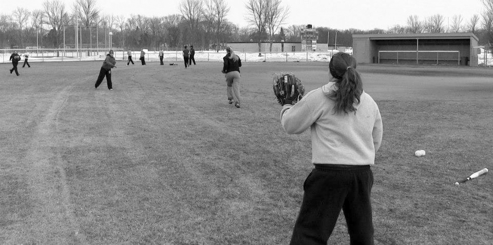 Submitted photo. Softball practiced on the field for the first time this season on Tuesday. Spring sports teams had been unable to get outdoor practice time until recently due to wintery weather conditions.