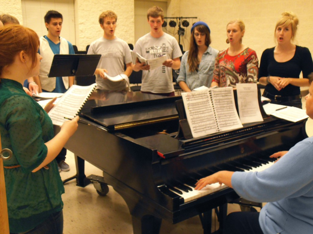 Cobber chorus members rehearse on campus. Photo by Austin Gerth.