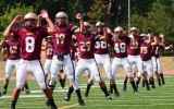 Senior Matt Perterson leads the Cobbers in warm-ups last Saturday in preparation to take on the University of Jamestown Jimmies. The Cobbers have high hopes for the 2013 season, hoping to secure a championship ad solid fanbase. Photo by Morgan Schleif.