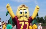 Kernal Cobb cheers on the Concordia football team at last Saturday's game. Photo by Morgan Schleif.