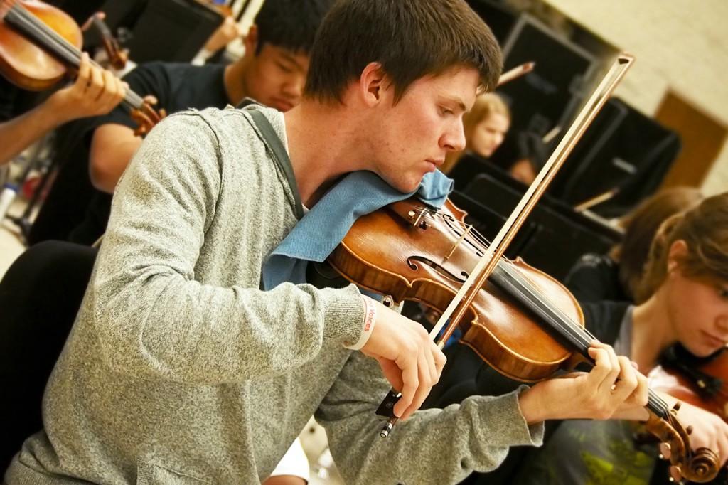 Freshman concertmaster practices
