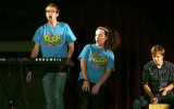 Andrew Carlson and Bethany Tompkins, assisted by Cory Austin, rapped a parody of the Fresh Prince of Bel Air theme song at the freshman class talent show, Frosh Frolics, Thursday, Oct. 10. Photo by Morgan Schlief.