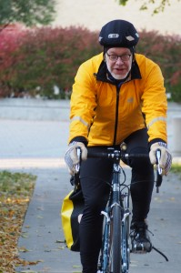 Professors choose to commute by pedal and foot year-round for numerous reason, including pleaser, practicality, health and sustainability. Photo by Morgan Schleif.