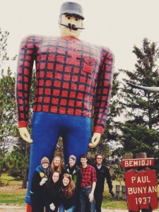 Students on the Lumberjack Ride pose with Paul Bunyan at the lakefront in Bemidji, Minn. Submitted photo.