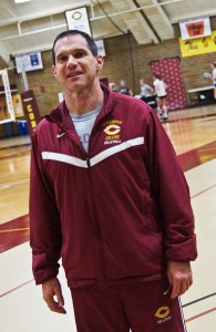Head volleyball coach Tim Mosser makes sure his team knows that their mental performance matters just as much as their physical performance. Photo by Morgan Scheif.