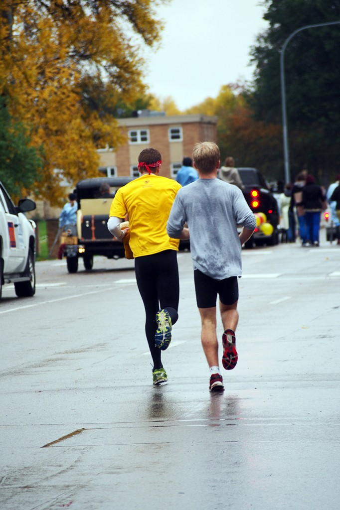 Men's cross country team members go for a practice run over the weekend. Photo by Morgan Schlief.
