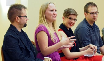 """Concordia students and members of the Secular Student Community spoke at a panel discussion called """"Ask an Atheist"""" Oct. 27. The panel discussion aimed to encourage discussion about what atheism is and how a disbelief in God affects atheists. Photo by Morgan Scheif."""