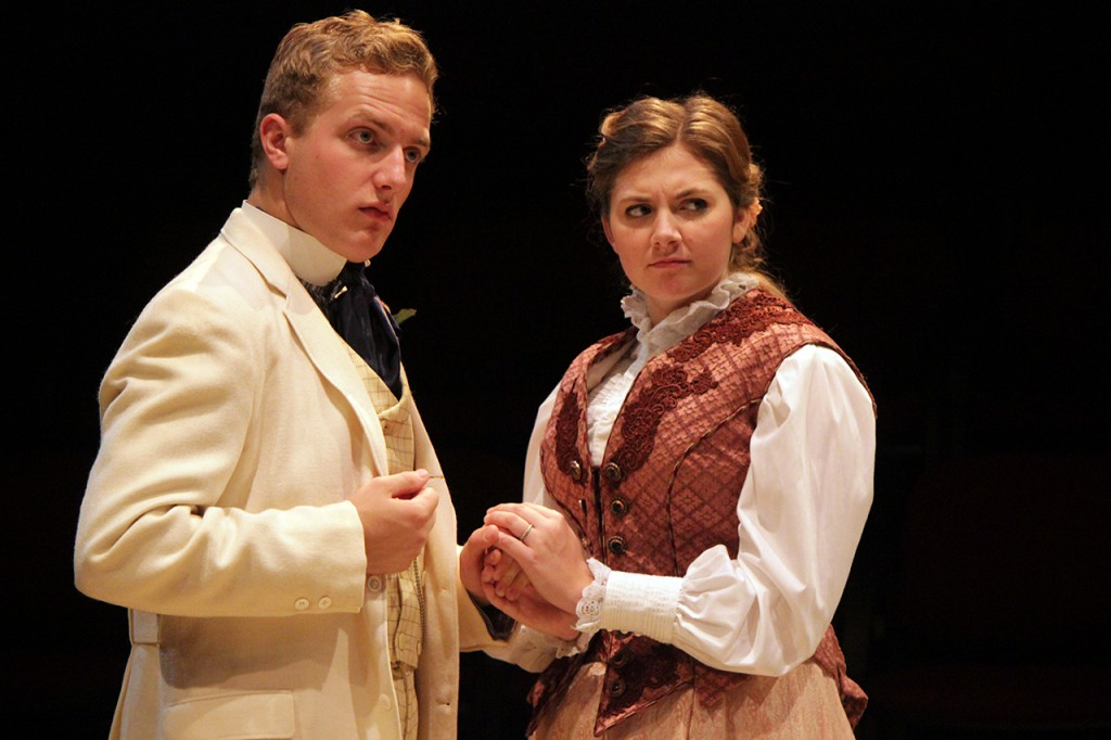 Riley Peterson as Algernon and Shelby Coulter as Cecily run their scene during a dress rehearsal for Concordia Theatre Department's staging of 'The Importance of Being Earnest.' The play opened this Tuesday. Photo submitted by Jen Thomas.