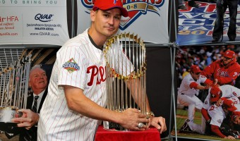 Chris Coste with the World Series Trophy. Submitted photo.