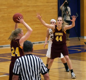 Senior Alexandra Lippert waits for a pass in a goal against Carleton. The wonen's basketball team's firt game is Friday Nov. 15. As current MIAC conference champions, the team has been working hard in hopes of keeping that title. Submitted photo.