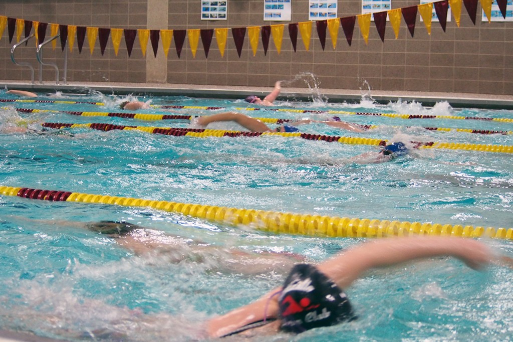 members of Concordia's swimming and diving team are determined to work hard practicing this year with the hopes of a successful post-season. Photo by Morgan Schleif.