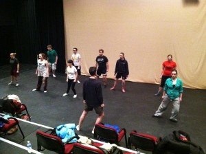 Actors practice the Suzuki Meth- od with Director David Wintersteen. Submitted photo.