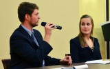 Alyssa Coop and Dan Remes defend their platform agenda at a debate before the election. Coop and Remes were elected SGA President and Vice President. Photo by Liv Ulring.