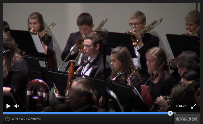 Members of the Concordia Band play during their home concert on Feb. 9. The performance was streamed live and archived for later viewing as part of the Virtual Concert Hall. Courtesy Virtual Concert Hall page.