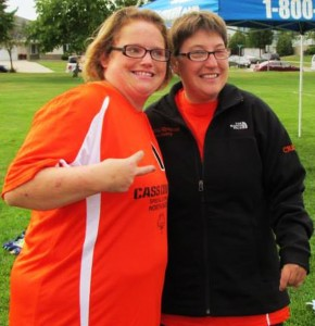 Mistie Creech is pictured above with a friend that participated in the Special Olympics. This is the first time Concordia has held the event. Submitted photo.