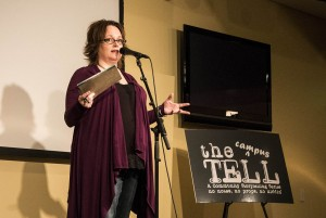 Laura Egland, the founder of The Tell in Fargo emceed The Campus Tell at Concordia on Tuesday night. Photo by Morgan Schleif.