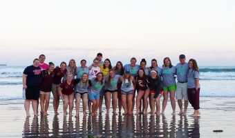 The softball team on the beach in Cocoa Beach, Fla. The team won three of their eight games. Submitted photo.