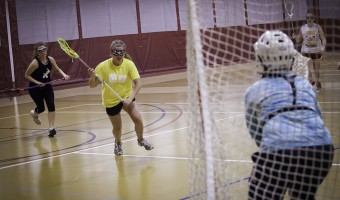 The women's lacrosse team practices on weekdays and on weekends. They enjoy their practice time to get some exercise and bond as a team. Photo by Bobby Person.