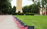 College Republicans placed 2,977 American flags on campus to symbolize victims of the September 11th attack.
