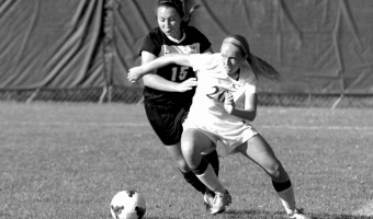 Emily Wendorf goes for the ball during Saturday's game against St. Olaf. Courtesy of the Concordia Sports Information Office.