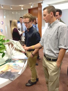 Two members of SHMA interact with a Mayo Clinic's technology. Photo by Maddie Malat.