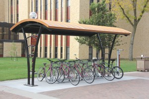 The new bike shelter marks the home for the COBBike share program. Photo by Maddie Malat.