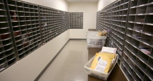An inside look at the campus post office. Photo by Maddie Malat.
